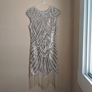 1920s Vintage Flapper Beaded Sequoin Midi Dress